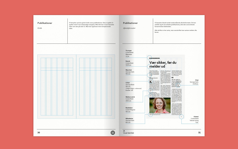 Grids og afsnitsformater som del af designmanual for JA