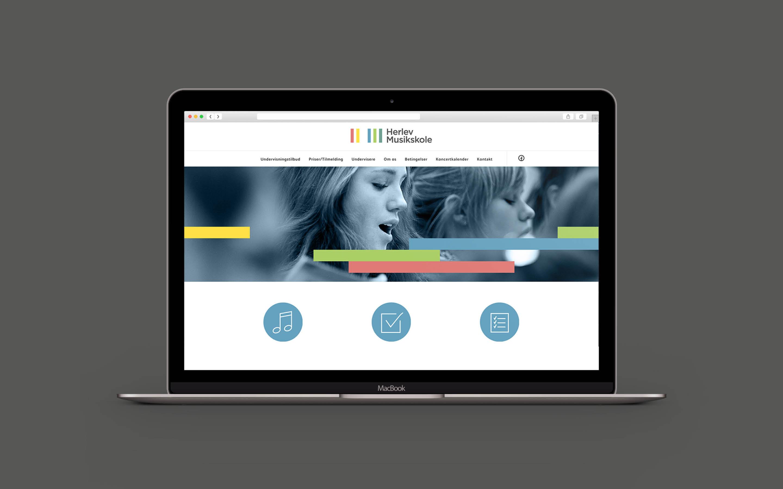 Webdesign og wordpress som del af designmanual til Herlev Musikskole