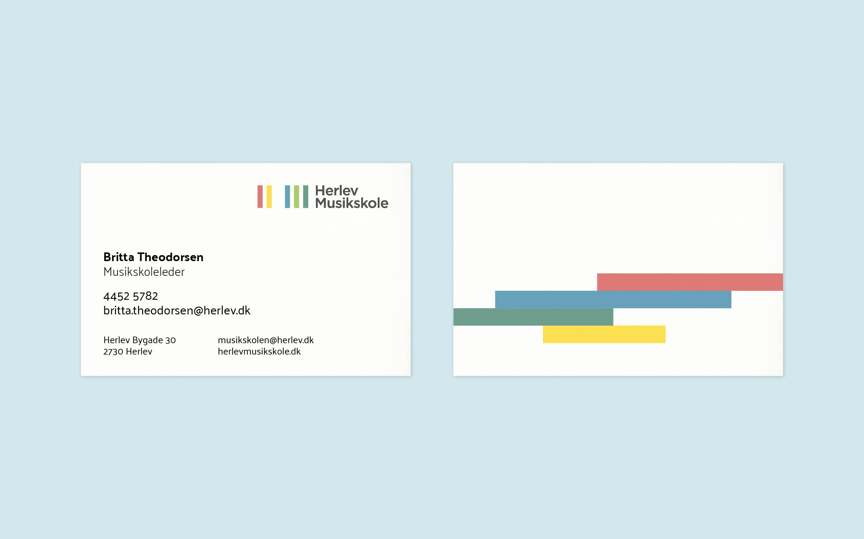 Visitkort og papirlinje som del af designmanual til Herlev Musikskole