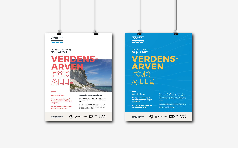 Plakater som del af designmanual for Verdensarv Stevns