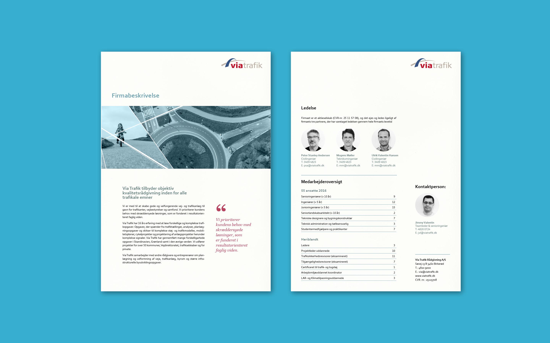 Firmabeskrivelse som del af visuel identitet til Via Trafik