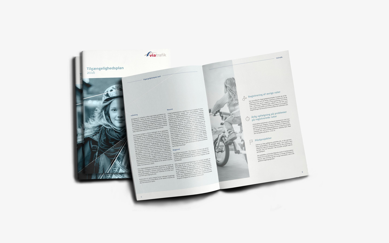 Rapportdesign som del af visuel identitet for Via Trafik
