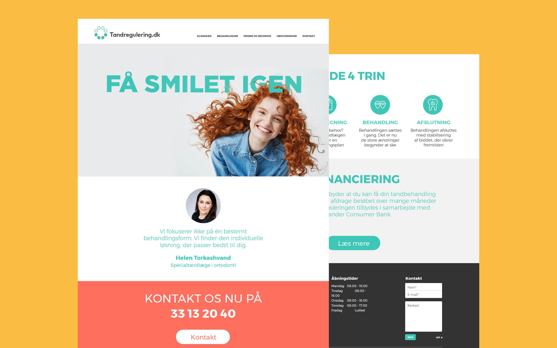 Webdesign som del af designmanual for Tandregulering.dk