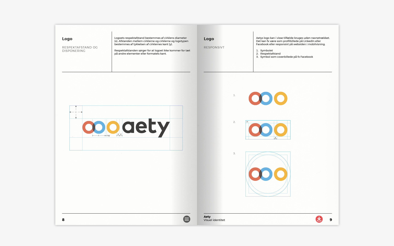 Respektafstand for logo som del af designmanual for Aety.io