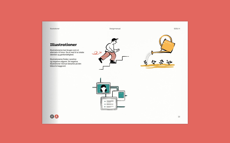 Illustrationer som del af visuel identitet for SOSU H