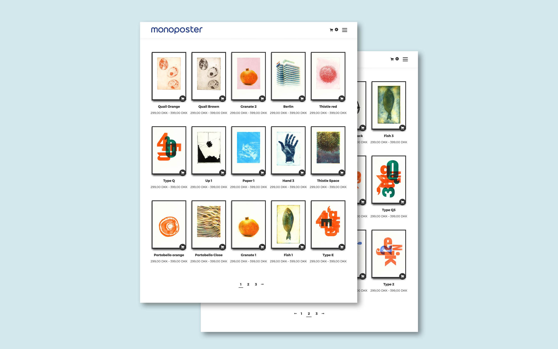 Webshop til plakatbutikken Monoposter